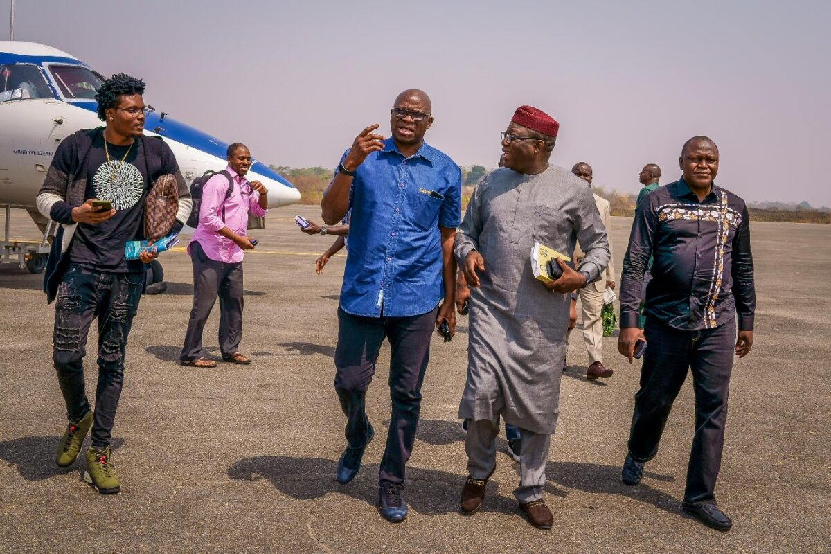 Photos: Fayemi, Fayose Chat At Akure Airport