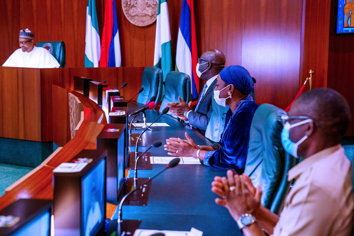 PHOTOs: Obaseki, his Deputy, Shaibu, Visits Buhari