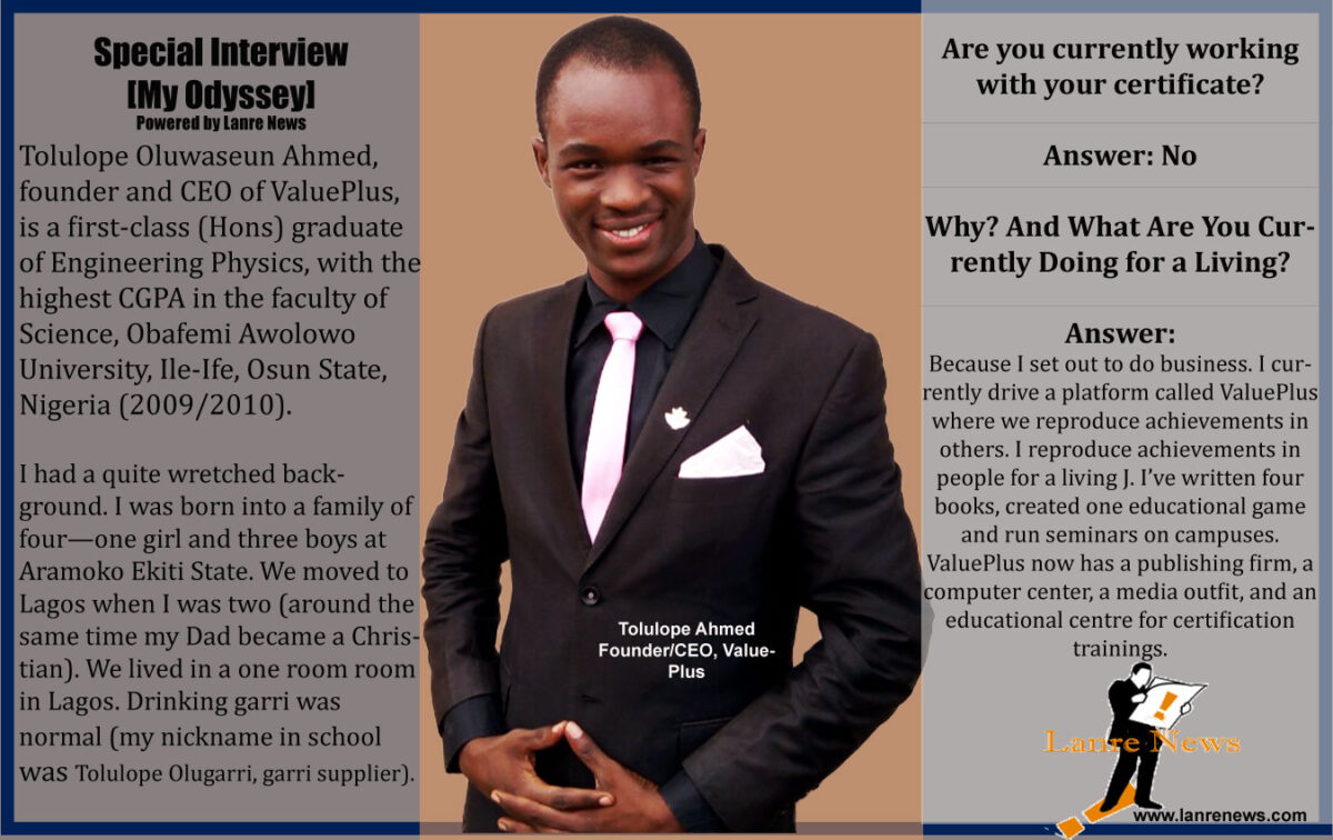 ValuePlus Founder, Tolulope Ahmed, and The Struggle For First Class Honour